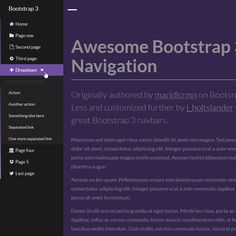 Awesome Bootstrap 3 Sidebar Off-Canvas Navigation, #Bootstrap, #Code, #CSS, #CSS3, #HTML, #HTML5, #Javascript, #jQuery, #LESS, #Menu, #Navigation, #Off_Canvas, #Resource, #Responsive, #Snippets, #Transition, #Web #Design, #Development