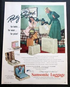 1949 Cute College Girl with Samsonite by VintageAllianceAds, etsy