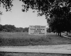 Sign advertising opening of the Texas Medical Center.  Location:Houston, TX, US  Date taken:October 1946  Photographer:Dmitri Kessel