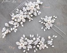 Boho Silver Flower Leaf Hair Vine Bridal Hair by LottieDaDesigns