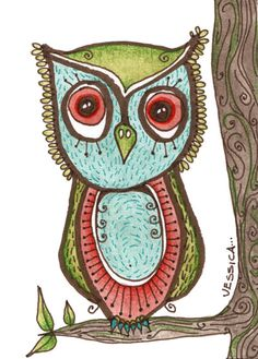 owl art pictures | illustration, art, owl perched on tree original aceo by artist jessica ...