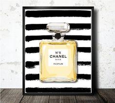 Chanel Parfum Art Print - Black & White Watercolor Fine Art Print - Chanel Inspired Home Decor - CC High Fashion Modern Art illustration on Etsy, $15.00