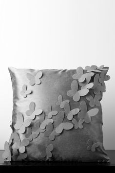 Cobble Stone and Elephant Gray Butterfly Pillow//