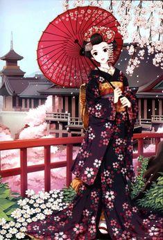 Geisha in a cherry blossom print kimono art illustration. Anime Kimono, Kimono Animé, Manga Anime, Art Manga, Art Anime, Anime Kunst, Manga Drawing, Manga Girl, Manga Artist