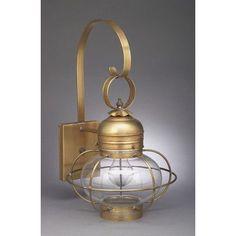 Northeast Lantern Onion 1 Light Outdoor Wall Lantern Finish: Antique Brass, Shade Type: Clear Seedy