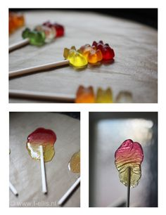 Simple to do on a rainy day with children. Choose your favorite colour gummy bears and put it in the oven for 5 minutes, 150 degrees. Leave it to cool and you have your homemade lollies! :)