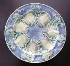 Majolica Style Lavender Oyster Plate. Age and origin unknown.
