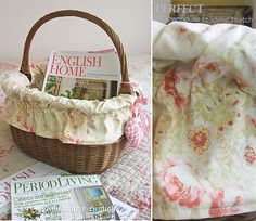 Make do & mend - just the loveliest old basket, lined with vintage eiderdown fabric - it now has a new life as a pretty magazine holder.