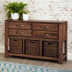 Walnut Console Table with Baskets | Mayan Walnut from Big Blu