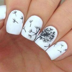 80 Winter Black and White Nail Art Designs - Nails C Cute Nail Art, Easy Nail Art, Cute Nails, Diy Nails, Teen Nail Art, White Nail Designs, Acrylic Nail Designs, Nail Art Designs, Nails Design