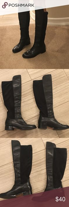 """Cole Haan tall boots Black leather front panels and black suede back panel. High/low style at top. 14.5"""" calf circumference but has stretch so fits larger too. Size 6B. Nike air technology. Good condition., 1.25"""" heel , 15.75"""" and 18"""" shaft height depending on front or back measurement since front panel is taller. Cole Haan Shoes"""
