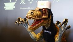 Called Weird Hotel, the place of business uses robots in order to cut costs., step aside, receptionists. Robots are coming to get you. At least, that's what's happening at a hotel in Japan. The owner of the hotel, Hideo Sawada, says robots are used to boost efficiency, too, and not as a gimmick to attract tourists. Interestingly, the robots have been made to look like dinosaurs.