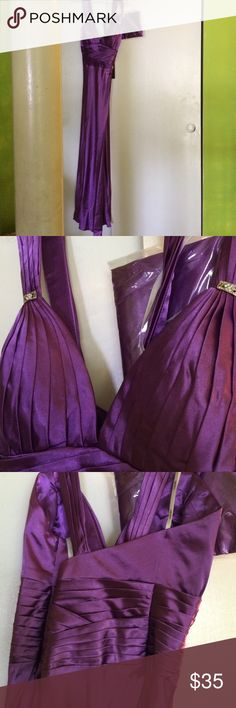 PRICE DROP evening gown Beautiful jeweled tone purple sleeveless gown with jeweled appliqués.  Comes with shawl (in unopened bag).  Lovely detailing.100% polyester. Never worn Colors Dress Dresses