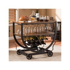 Baxton Studio Triesta Wheeled Wine Rack Cart, Brown
