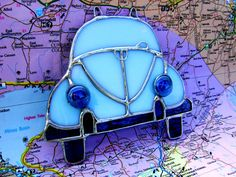 Volkswagen Beetle Bug Baby Blue Stained Glass by GothicGlassStudio, $35.00