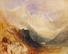 View along an Alpine Valley, possibly th - Joseph Mallord William Turner als Kunstdruck oder handgemaltes Gemälde. Vincent Van Gogh, Turner Watercolors, Painting Prints, Fine Art Prints, Leonid Afremov Paintings, Oil Paintings, Joseph Mallord William Turner, Canvas Art, Canvas Prints