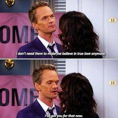 Robin and Barney. They were a good couple while they lasted. But in truth, neither one of them were meant to be together forever. Tv Quotes, Movie Quotes, Barney And Robin, Ted And Robin, How Met Your Mother, Robin Scherbatsky, Yellow Umbrella, Movie Couples, Himym