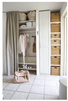 natural linen curtains - a smart storage solution for a small bedroom space or walk-in wardrobe