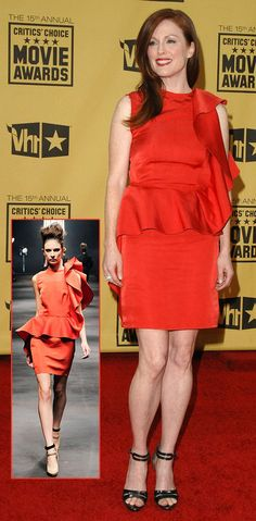 Lanvin Red Dress   Julianne Moore's Lanvin Red Dress For Critics Choice Awards 2010