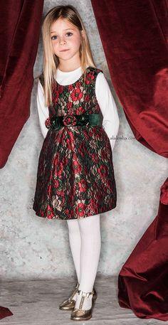 Black, Red & Green Floral Brocade Dress & Belt