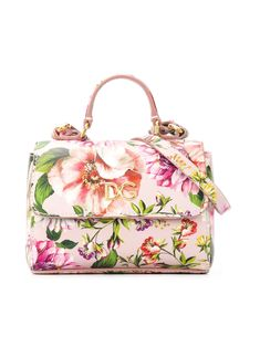 Multicolour leather floral-print tote from Dolce & Gabbana Kids featuring a floral print, a top handle, a detachable and adjustable shoulder strap, a main internal compartment and a foldover top. Dolce And Gabbana Purses, Dolce And Gabbana Kids, Gucci Kids, Stella Mccartney Kids, Barbie Accessories, Vintage Accessories, Karl Lagerfeld, Emporio Armani, Balmain