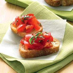 Juicy summer tomatoes and fresh basil top this easy crostini appetizer. Recipe: Tomato-Basil Crostini Related: Perfect Party Bites: Bread and Crostini Appetizers   - Delish.com