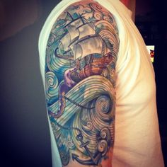 Ship anchor nautical watercolor half sleeve tattoo