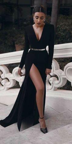 black long sleeve prom dresses,elegant A-line floor length evening dresses,sexy v-neck formal. black long sleeve prom dresses,elegant A-line floor length evening dresses,sexy v-neck formal dress Prom Dresses Long With Sleeves, Black Wedding Dresses, Sexy Dresses, Beautiful Dresses, Fashion Dresses, Satin Dresses, Homecoming Dresses, Summer Dresses, Long Sleeve Formal Dress