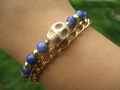 Stone Skull Violet Blue Gold Chain Stacking by augustroseshop, $11.00
