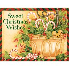 Candy Canes And Jingle Bells Christmas Cards by Diane Knott for Lang