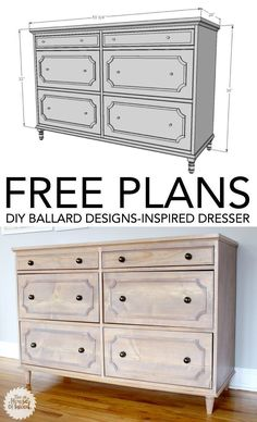 DIY Wood Working projects: DIY Ballard Designs-Inspired Dresser