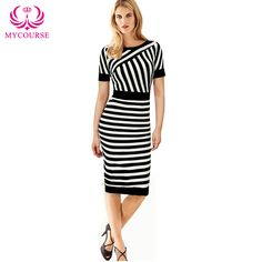 Find More Dresses Information about MYCOURSE 2016 Women Summer Dress O Neck Work OL Dress Black White Striped Patchwork Short Sleeve Bodycon Slim Pencil Dress,High Quality pencil wood,China pencil packaging Suppliers, Cheap pencil eyeliner from MYCOURSE on Aliexpress.com