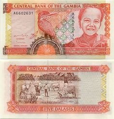 Gambia   5 Dalasis (1996) (Kingfisher bird; girl)