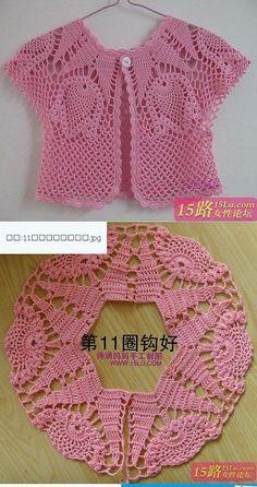 Discover thousands of images about María Garibay [] Pin Pin, Chambritas Para Bebe, Jacket, Tissue, Crochet - CrochetingNeedles. Crochet Bolero Pattern, Crochet Yoke, Crochet Baby Cardigan, Crochet Baby Clothes, Crochet Jacket, Easy Crochet, Knit Baby Sweaters, Crochet Blouse, Crochet Summer Dresses