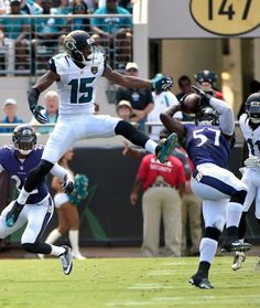 Baltimore Ravens inside linebacker C.J. Mosley (57) intercepts a pass intended for Jacksonville Jaguars wide receiver Allen Robinson (15) during the first half of an NFL football game in Jacksonville, Fla., Sunday, Sept. 25, 2016.