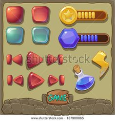Game background with buttons and resources icons set (vector)  - stock vector