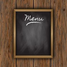 Chalkboard menu on a wooden background Free Vector Menu Restaurant, Cafe Menu, Menu Burger, Modele Flyer, Fond Design, Food Backgrounds, Wooden Background, Breakfast For Kids, Food Menu