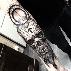 Bad ass sketch style Viking skull tattoo by Fredao Oliveira.