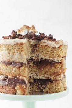 momofuku inspired stout, pretzel and marshmallow cake