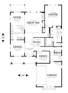 First Floor Plan image of Featured House Plan: BHG - 7044