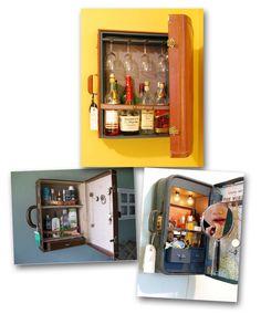 vintage suitcase bar.