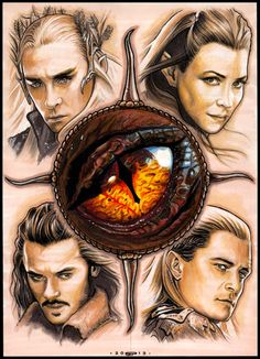 "DESOLATION OF SMAUG by S-von-P.deviantart.com on @deviantART - Thranduil, Tauriel, Bard the Bowman and Legolas, all surrounding Smaug's eye. All characters are from ""The Hobbit"""