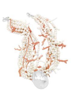 Moonsnail Coral and Pearl Necklace. Mignon Faget. New Orleans...