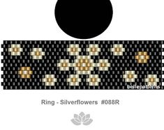 DETAILS: Silverflowers Peyote ring pattern - The ring-length is adjustable. Size: cm x cm / x - odd count Beads: Miyuki Delica >>>>>>>>>>>>> Coupons-codes: <<<<<<<<<<< PREVIOUS KNOWLEDGE: Peyote stitch The pattern does not include instructions for how Diy Beaded Rings, Diy Jewelry Rings, Seed Bead Jewelry, Peyote Beading, Beaded Earrings Patterns, Beading Patterns, Tutorial Anillo, Peyote Stitch Patterns, Beaded Jewelry
