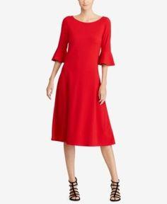 Lauren Ralph Lauren Petite Bell-Sleeve Jersey Dress - Lipstick Red P/S