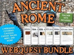 Ancient Rome - Emperors - Webquest Bundle (6 Webquests) - This Ancient Rome bundle includes 6 webquests related to 6 different emperors from Ancient Rome. The Ancient Rome emperors include: Trajan, Caesar, Nero, Caligula, Augustus and Aurelius. It totals 30 pages and includes detailed teacher keys for ease of assessment. It is a versatile bundle that can be used in several ways.