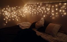 42 cozy decor ideas with bedroom string lights 16 Romantic Bedroom Lighting, String Lights In The Bedroom, Welcome To My House, Bed Lights, Getting Bored, Beautiful Bedrooms, Fairy Lights, Icicle Lights, My Room