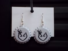 Browning Style Buck and Doe Heart Bottlecap Earrings. $5.00, via Etsy.
