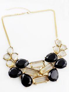 Black Drop Gemstone Gold Chain Necklace
