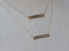Nameplate Double Strand Necklace, Two Bar Necklace, Personalized Bar Necklace, Personalized Jewelry, Family Mothers Silver Gold Necklace on Etsy, $70.00